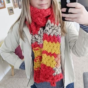 Anthropologie Red Chunky Knit Scarf